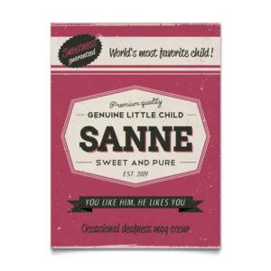 Mooi donker roze naambord van Koenmeloen met naam van kind. Leuk als kraamcadeau.