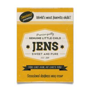 Mooi geel naambord van Koenmeloen met naam van kind. Leuk als kraamcadeau.