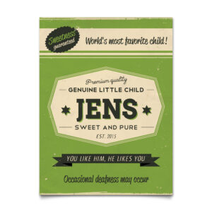 Mooi groen naambord van Koenmeloen met naam van kind. Leuk als kraamcadeau.