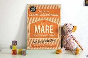 Mooi oranje naambord van Koenmeloen met naam van kind. Leuk als kraamcadeau.
