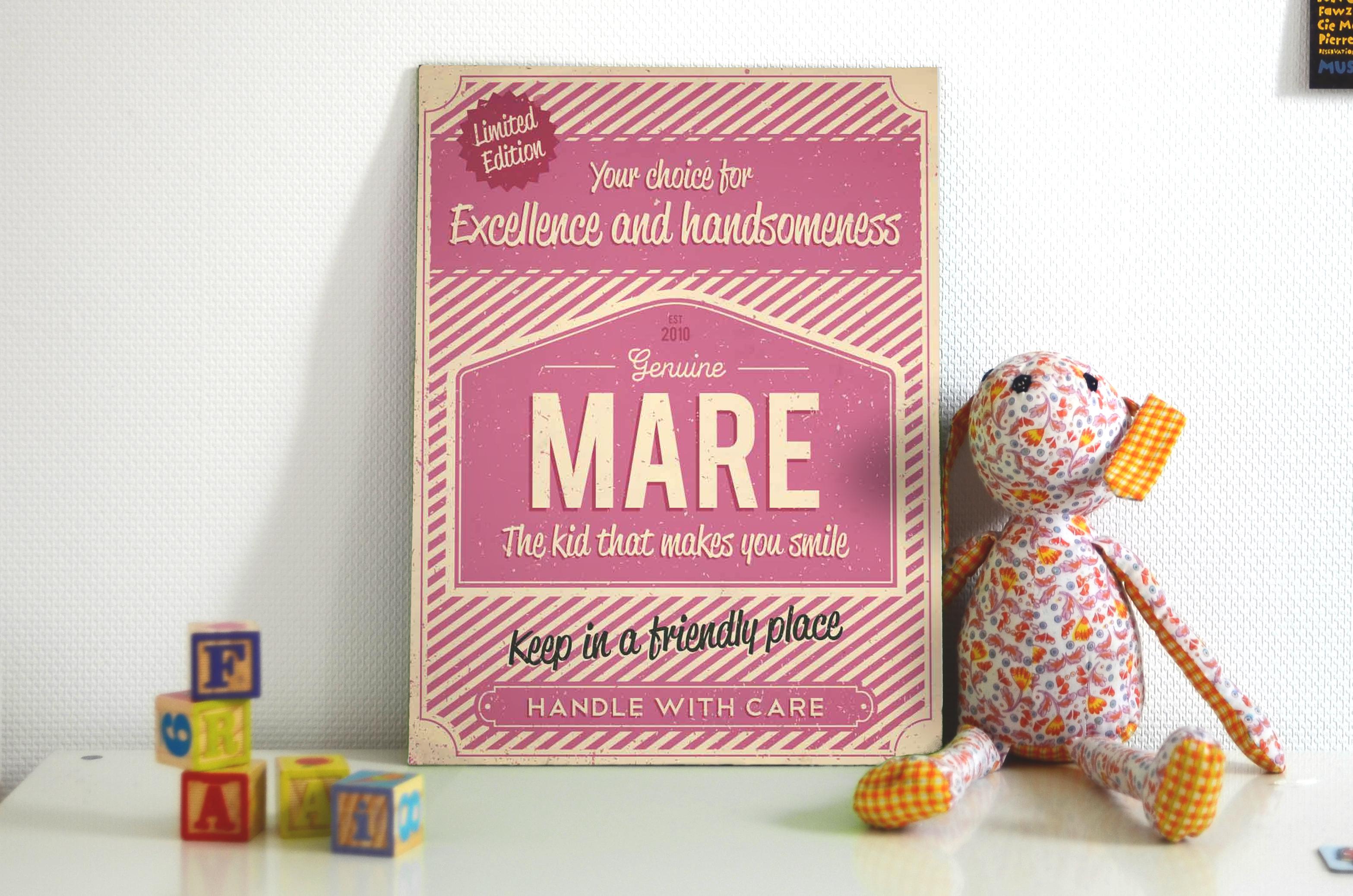 Naambord Mare roze - Koenmeloen
