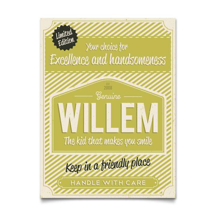 Mooi zacht groen naambord van Koenmeloen met naam van kind. Leuk als kraamcadeau.