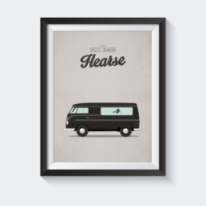 Split screen hearse