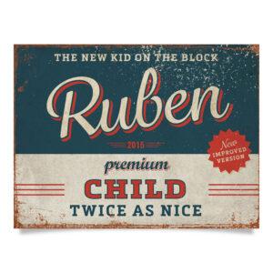 Geboortebord Ruben Blauw Rood