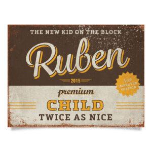 Geboortebord Ruben Bruin Geel