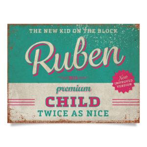 Geboortebord Ruben Blauw Roze