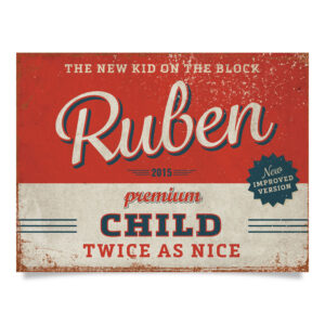 Geboortebord Ruben Rood Blauw