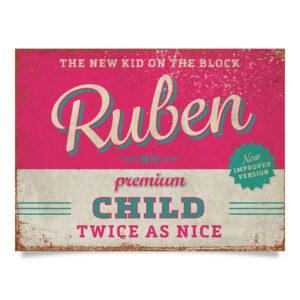 Geboortebord Ruben Roze Blauw