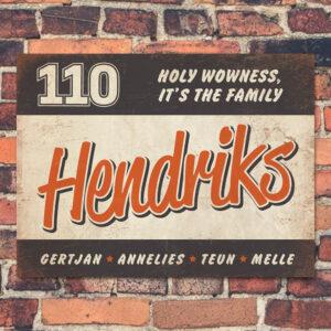 Naambord Hendriks Oranje Wit Zwart