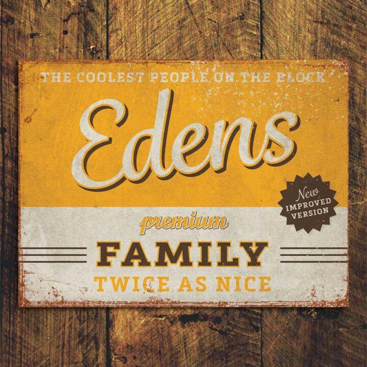 naambord-Edens-geel-bruin van koenmeloen