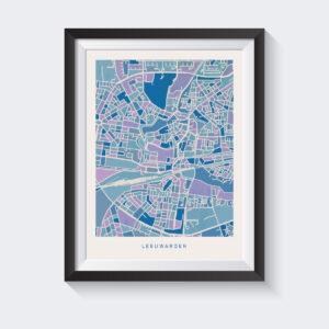 poster-mockup-kaart-leeuwarden-koenmeloen-blauw-lila