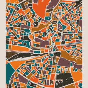 kaart-leeuwarden-koenmeloen-bruin-oranje