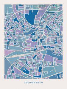 poster-kaart-leeuwarden-koenmeloen-blauw-lila