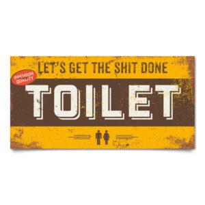 Bord Toilet Geel Bruin Wit