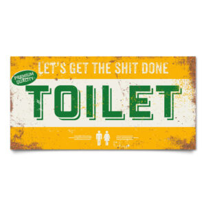Bord Toilet Geel Groen Wit