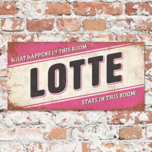 Naambord Kinderkamer Lotte Roze Zwart Wit