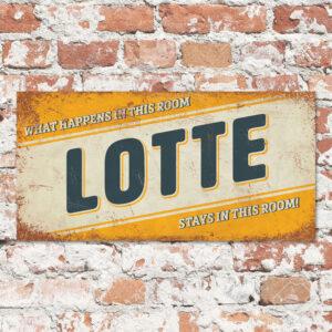 Naambord Kinderkamer Lotte Geel Blauw Wit