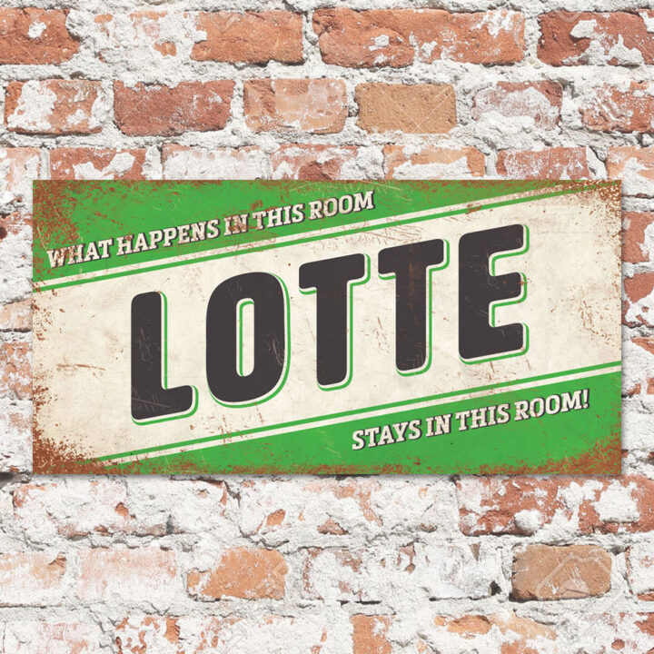 Naambord-Lotte-groen-zwart-wit