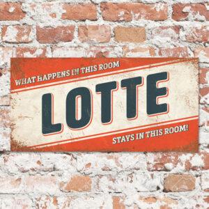 Naambord Kinderkamer Lotte Oranje Blauw Wit
