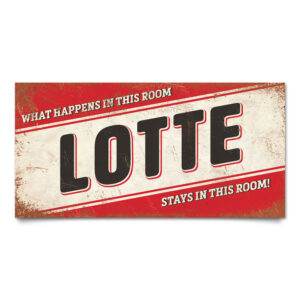 Naambord-Lotte-rood-zwart-wit