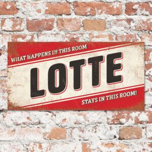 Naambord Kinderkamer Lotte Rood Zwart Wit