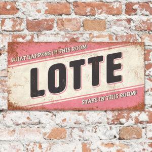 Naambord Kinderkamer Lotte Lichtroze Zwart Wit