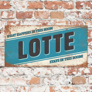 Naambord Kinderkamer Lotte Wit Zwart Blauw