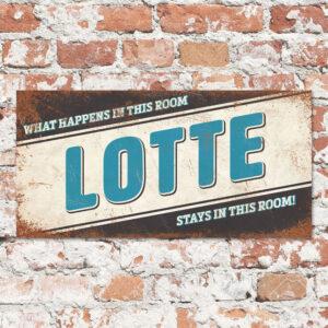 Naambord Kinderkamer Lotte Zwart Blauw Wit