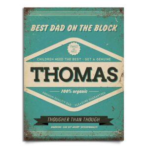Naambord Thomas vaderdag editie blauw rood