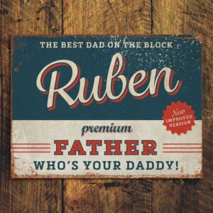 Naambord Ruben vaderdag editie blauw rood