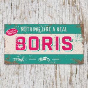 Naambord Kinderkamer Boris Mint Roze Wit