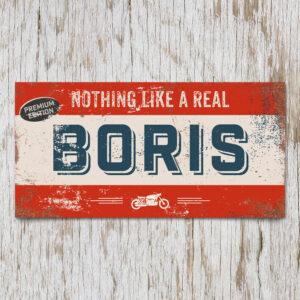 Naambord Kinderkamer Boris Rood Blauw Wit