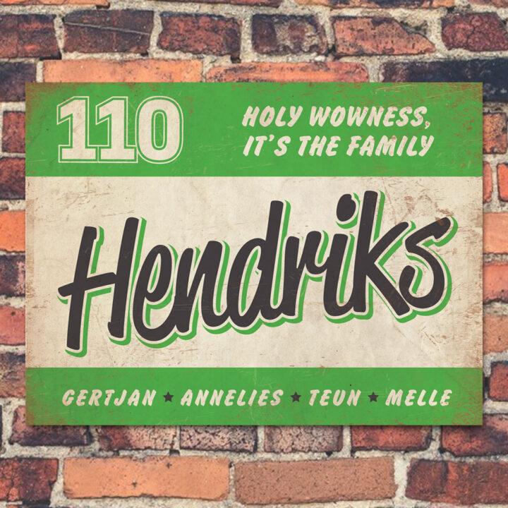 Naambord-Hendriks-voordeur-groen-wit-zwart-koenmeloen