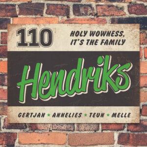 Naambord Hendriks Groen Wit Zwart