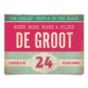 Naambord-de-Groot-voordeur-mint-roze-wit-koenmeloen