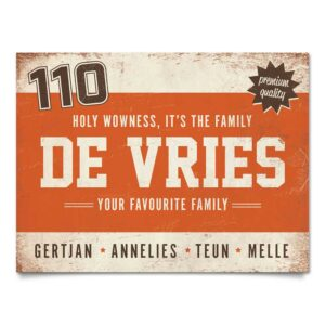 Naambord-de-Vries-voordeur-oranje-wit-bruin-koenmeloen
