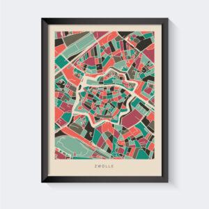 Koenmeloen-plattegrond-zwolle-poster-roze-mint-grijs