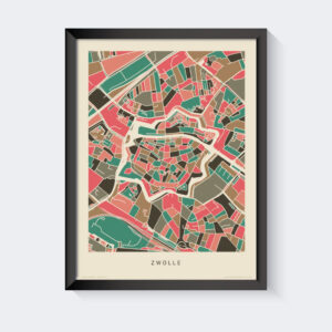 Koenmeloen-plattegrond-zwolle-poster-groen-roze-grijs