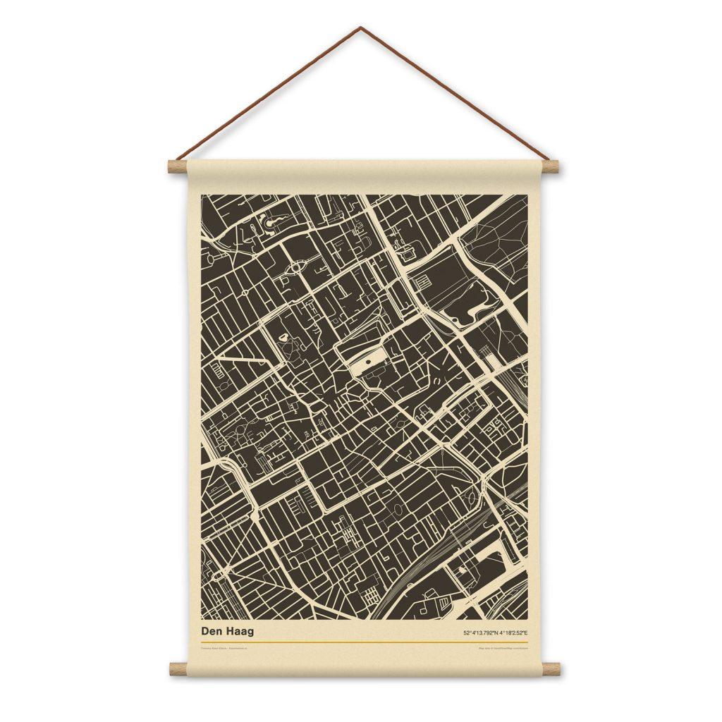Den-Haag-mockup-textielposter-stadsplattegrond-schoolposter-witte-achtergornd-koenmeloen