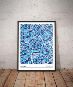 Groningen-kleurt-blauw---Donar-mozaiek-versie-poster-print-vloer