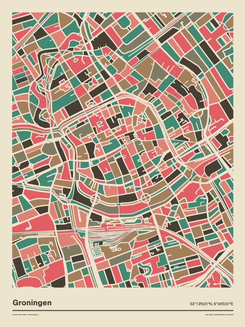 Groningen-mozaiek-poster-print-grijze-roze-tinten-2 koenmeloen
