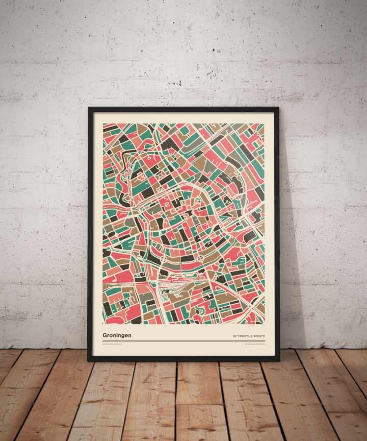 Groningen-mozaiek-poster-print-grijze-roze-tinten-vloer koenmeloen