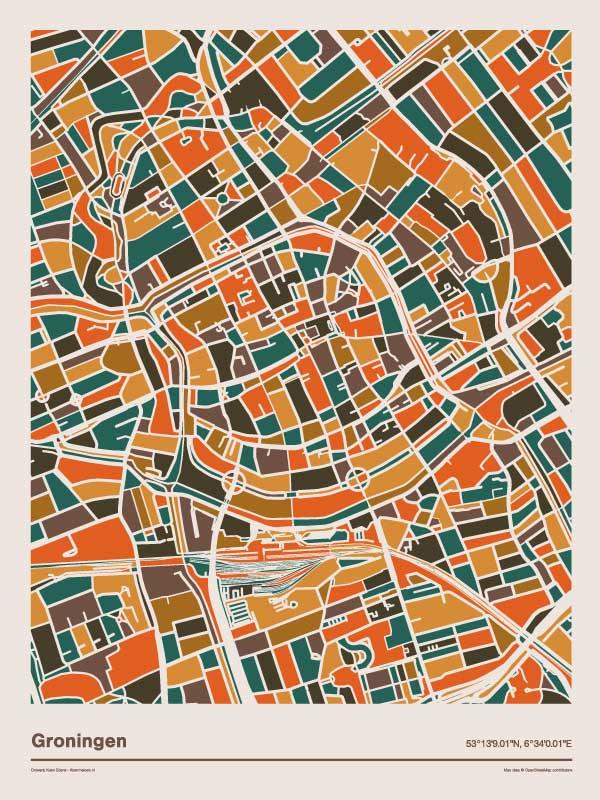 Groningen-mozaiek-poster-print-oranje-bruine-tinten-2 koenmeloen
