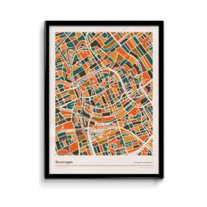Groningen-mozaiek-poster-print-oranje-bruine-tinten koenmeloen