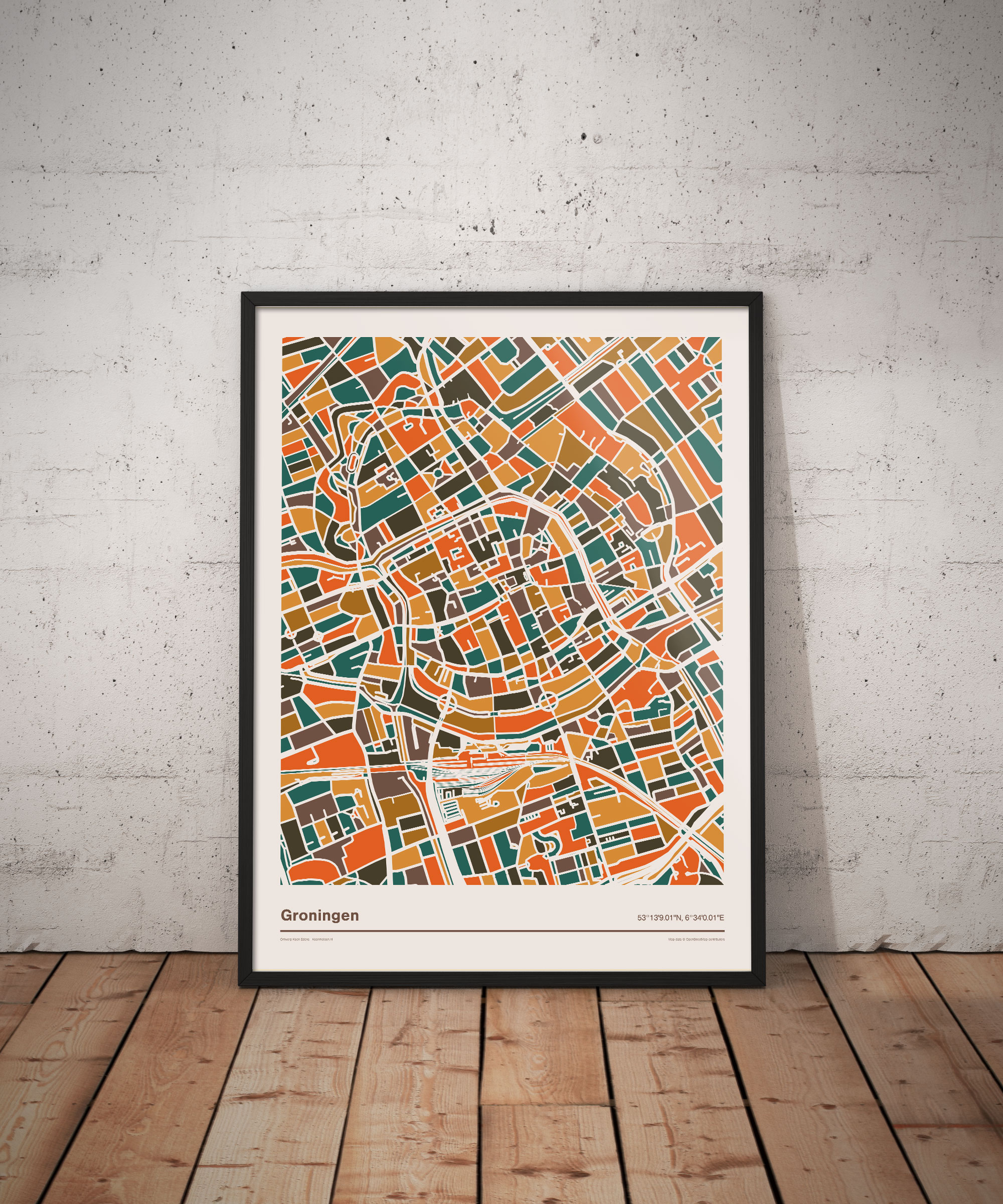 Groningen-mozaiek-poster-print-oranje-bruine-tinten-vloer koenmeloen