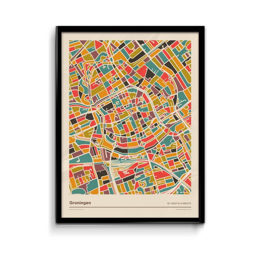Groningen-mozaiek-poster-retro-warme-kleuren koenmeloen