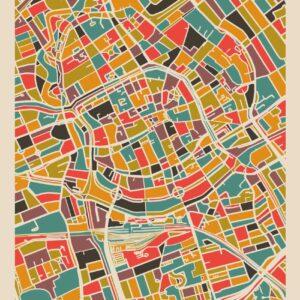 Poster Groningen Stad – Retro Warme Mozaiek