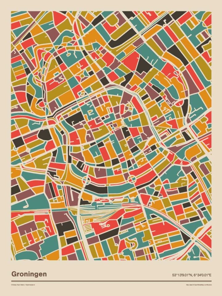 Groningen-mozaiek-poster-retro-warme-kleuren-2 koenmeloen