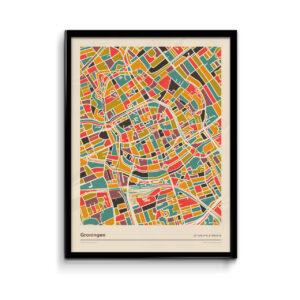 Poster Groningen Stad - Retro Warme Mozaiek