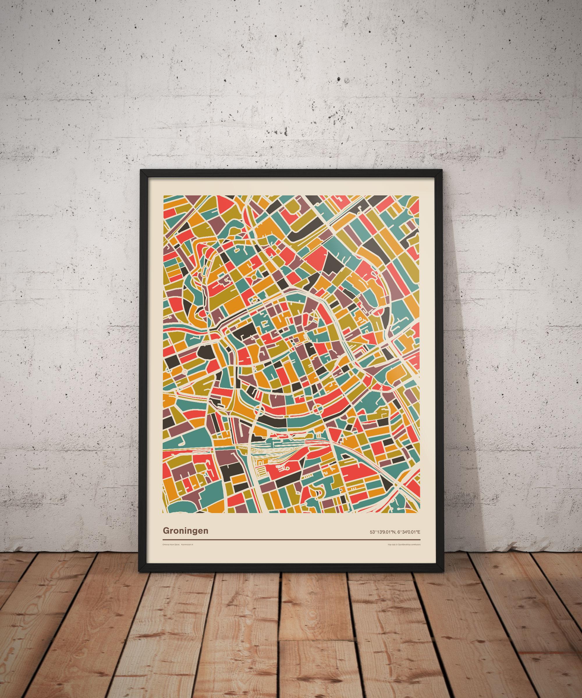 Groningen-mozaiek-poster-retro-warme-kleuren-vloer koenmeloen